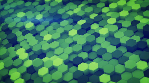 Green hexagon pattern 3D render loopable animation Animation