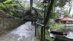 Beautiful pond with a bridge, gazebo and umbrellas 1 Footage