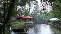 Beautiful pond with a bridge, gazebo and umbrellas Footage