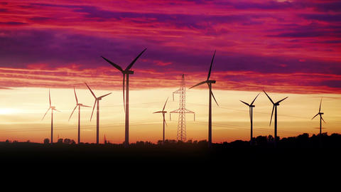 Video of windmills at the sunset in 4K 動画素材, ムービー映像素材