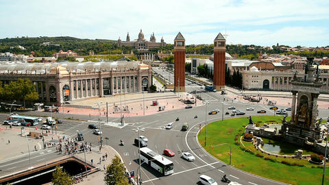 Aerial Panoramic View Of Downtown Barcelona City Of Spain Live Action