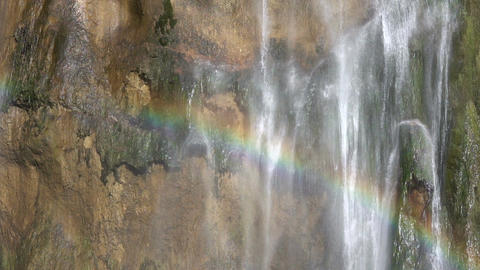 Rainbow on a Waterfall Close-Up. Slow Motion Footage
