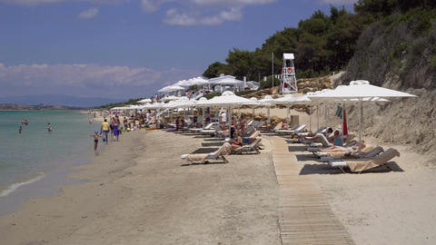 Halkidiki, Greece Sani luxury hotel resort beach view Footage