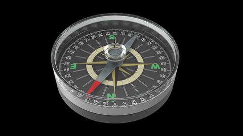Rotating compass ,loop, animation, Alpha channel Animation