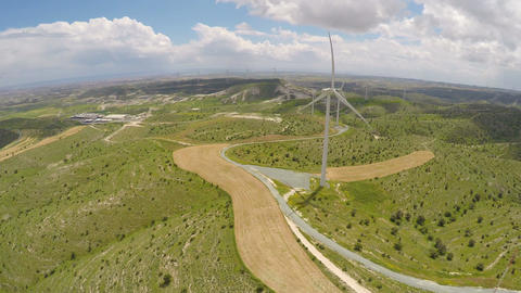 View on wind farm in Cyprus, eco-friendly alternatives of energy production Live Action