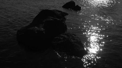 The reflection of the sun in the water, the sun's glare on the surface of the se Filmmaterial