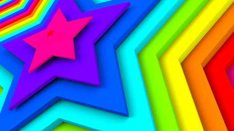 Bright colorful stars 3d render seamless loop animation Animation