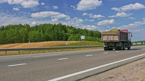 4K Truck With Building Materials Traveling on Highway Footage