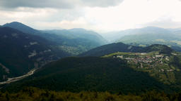 Panorama of the village of Vrata, surrounded by pine forest in the Rhodope Mount