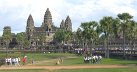 Tourist time lapse Angkor Wat Cambodia ancient civilization temple Footage