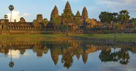 Tourist travel landmark of Angkor Wat Cambodia ancient civilization temple Footage