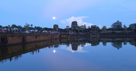 Water reflection at Angkor Wat Cambodia ancient civilization temple Footage