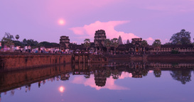 Twilight Angkor Wat Cambodia ancient civilization temple Footage