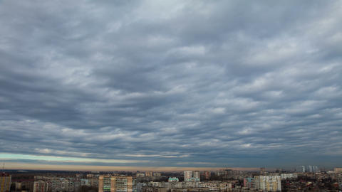 Cloudy Sky over the Residential Area. Time Lapse 4K Footage