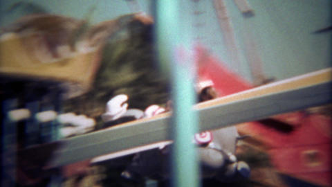 1979: Disneyland Dumbo amusement park ride with mother and son Footage
