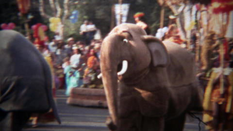 1979: Disneyland parade 2 man elephant costumed characters Footage