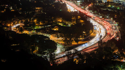 Seamless 4K Timelapse Of Car Flow In Los Angeles Highway From Hollywood Bowl stock footage