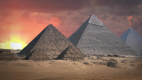 Pyramids With Cloud Background in Time Lapse Footage