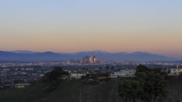 4K Timelapse Of Los Angeles Downtown Cityscape With Mt. Baldy stock footage