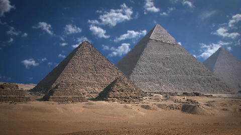 Pyramids With Cloud Background in Time Lapse Live Action