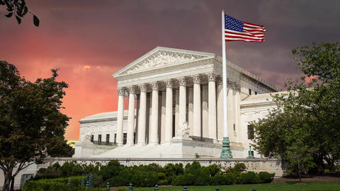 Supreme Court Building Washington DC with Red Clouds in Time Lapse Footage