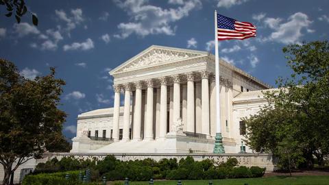 Supreme Court Building Wasington DC with Clouds Time Lapse Blue Sky Footage