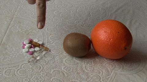 Pills Or Orange And Kiwi stock footage