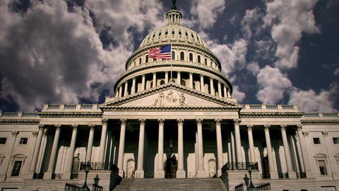 Washington DC Capitol Building with Background Clouds in Time lapse Footage