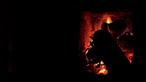 Burning wood in a stove 01 Footage