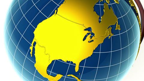 Golden globe, zoom to USA Animation
