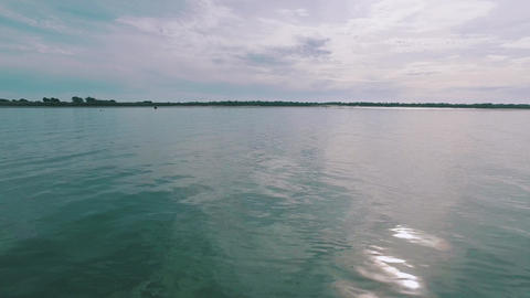 Pan View Calm Water Surface In Ocean Gulf stock footage