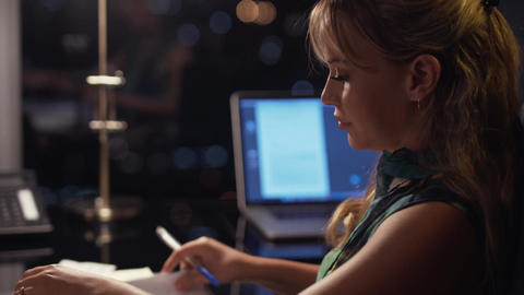 3 Businesswoman Working Late At Night With Bills In Office GIF
