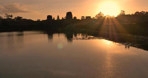 Sunrise Angkor Wat Cambodia ancient stone ruin temple Footage