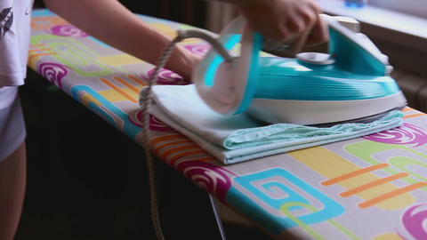 Ironing Of Baby Diaper stock footage