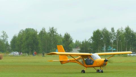 Aeroprakt A-22 light aircrafts on airfield Live Action