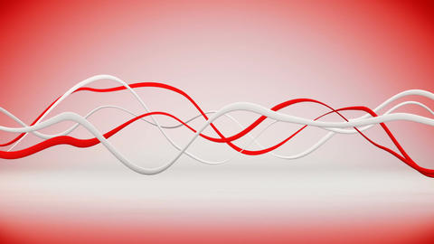 Red and white waving lines 3D render animation seamless loop Animation