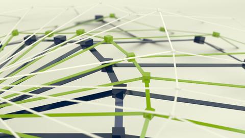 Polygonal web shape vibrates. 3d render animation loop Animation