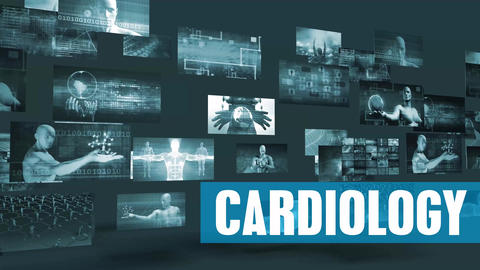 Cardiology Medical with Moving Screens Video Wall Background Looping Footage