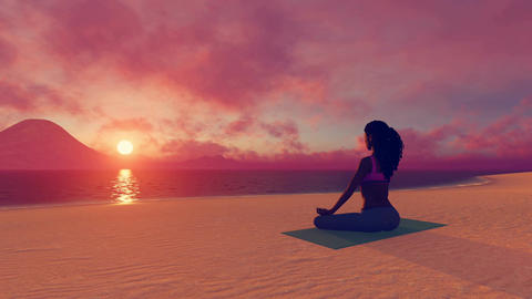 African woman in meditation yoga pose at sunrise time lapse Animation