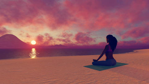 African woman meditating on the beach at sunset CG動画素材