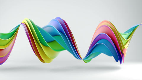 Rainbow spectrum twisted 3D shape spinning seamless loop Animation