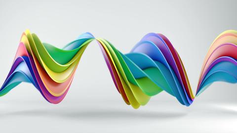 Rainbow spectrum twisted 3D shape spinning seamless loop Stock Video Footage