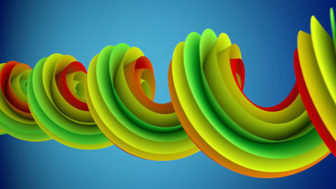 Colorful spiral curve rotates abstract 3D animation loopable Animation