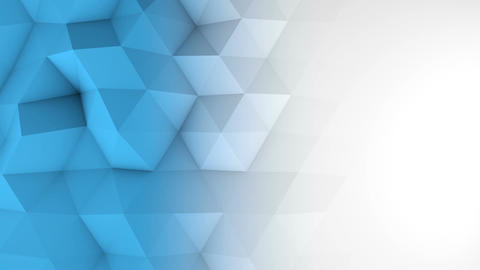 White blue gradient polygonal geometric 3D surface loopable Animation
