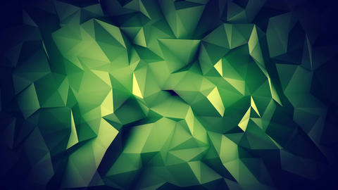 Dark green low poly 3D surface seamless loop animation Animation