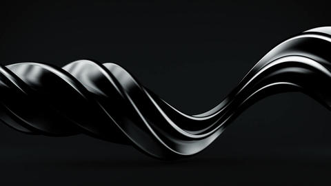 Glossy black twisted spiral 3D shape spinning seamless loop Animation