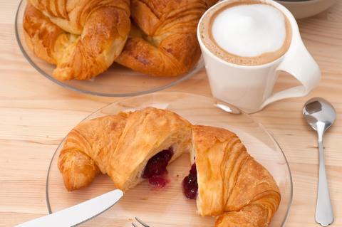fresh croissant french brioche and coffee Photo