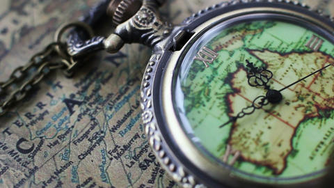 Pocket Watches On The World Map Filmmaterial