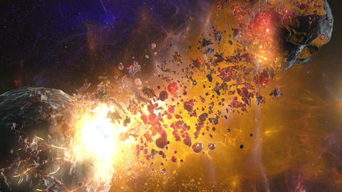 4K Destruction planet and moon in nebula 3D animation Animation