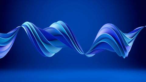 Blue twisted 3D shape spinning seamless loop Animation